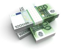 Stack of Euro. ( on white Stock Images