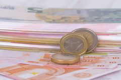 Euro Banknotes and Coins Currency Money Stock Photo