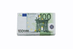 Stack of 100 euro banknotes Stock Images