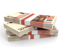 Stack of EURO banknotes. Fifty euro. 3D illustration Stock Image