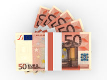 Stack of EURO banknotes. Fifty euro. 3D illustration Royalty Free Stock Photo