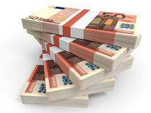 Stack of EURO banknotes. Fifty euro. 3D illustration Royalty Free Stock Photos
