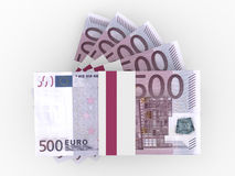 Stack of EURO banknotes. Five hundred. 3D illustration Stock Images