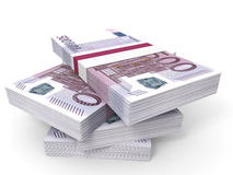 Stack of EURO banknotes. Five hundred. 3D illustration Royalty Free Stock Images