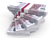 Stack of EURO banknotes. Five hundred. 3D illustration Stock Photos