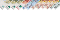 Stack of Euro banknotes have empty space isolated. Stock Photography