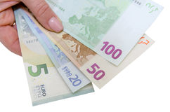 Stack of Euro banknotes isolated Stock Photos
