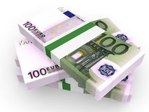 Stack of EURO banknotes. One hundred. 3D illustration Stock Images