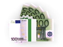 Stack of EURO banknotes. One hundred. 3D illustration Royalty Free Stock Images