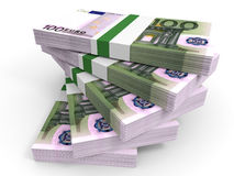 Stack of EURO banknotes. One hundred. 3D illustration Stock Photos