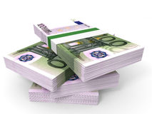 Stack of EURO banknotes. One hundred. 3D illustration Royalty Free Stock Photo