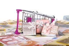 Euro Banknotes with Shopping Cart and Gift Boxes Consuming Conce Stock Image