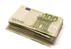 Stack of Euro bills. Stack of 100 Euro bills. Isolated on white Royalty Free Stock Photos