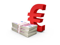 Stack of Euro Bills and Euro Sign Royalty Free Stock Photo