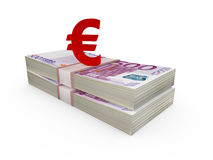 Stack of Euro Bills and Euro Sign Stock Images