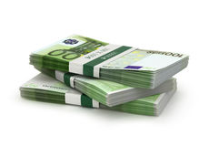 Stack of euro bills isolated. Stock Image