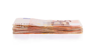 Stack of 50 euro bills Stock Photo