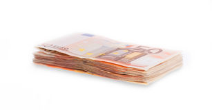 Stack of 50 euro bills, selective focus Royalty Free Stock Photos