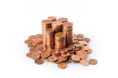 Stack of euro cent coins Stock Photos