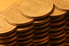 Stack of euro cents. Wall of euros cents (horizontal Royalty Free Stock Photography