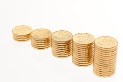Stack of euro coins. Some stacks of coins on white background Stock Photos