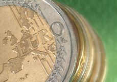 Stack of Euro coins. Lose up in a still life Stock Photography