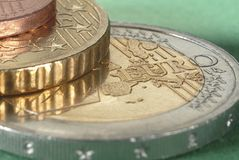Stack of Euro coins. Close up in a still life Stock Photos