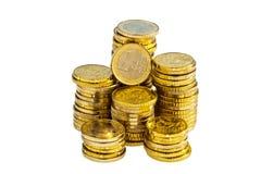 Stack of euro coins. A stack of euro coins against white background stock photo