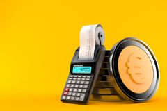 Stack of euro coins with calculator. Isolated on orange background royalty free illustration