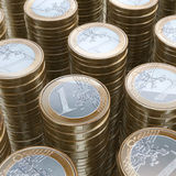 Stack Of 1 Euro Coins (Close-Up Picture). Stack Of 1 Euro Coins (Close-Up Illustration Stock Photography