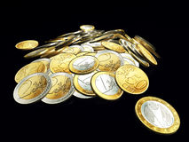 Stack of Euro coins. On dark background.3d illustration Royalty Free Stock Photography
