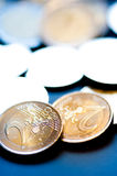 Stack of 2 Euro coins. Depicting financial concept Royalty Free Stock Photo