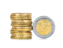 Stack of euro coins Stock Images