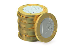 Stack of Euro coins. Isolated on white background vector illustration