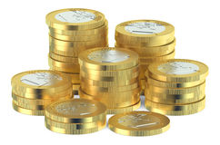 Stack of Euro coins. Isolated on white background stock illustration