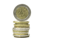 Stack of Euro coins isolated on white background Royalty Free Stock Photos