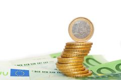 Stack of Euro coins isolated on white background Royalty Free Stock Image