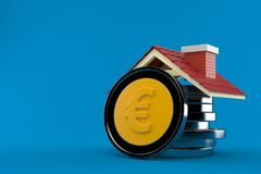 Stack of euro coins with roof. On blue background royalty free illustration
