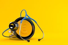 Stack of euro coins with stethoscope. Isolated on orange background. 3d illustration royalty free illustration