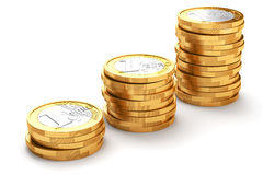 Stack of Euro coins. On white background stock illustration