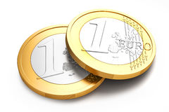 Stack of Euro coins on white background. 3d image royalty free illustration