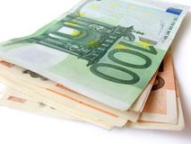 Stack of euro money bills Royalty Free Stock Photos