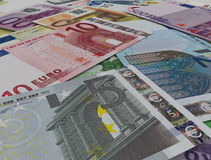 Stack of euro no table Stock Photos