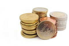 Stack of European Euro coins. In white background Royalty Free Stock Photo