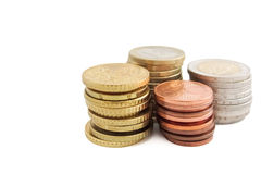 Stack of European Euro coins in white background. Stack of European Euro coins Royalty Free Stock Image