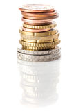 Stack of euros and euro cents Royalty Free Stock Photos