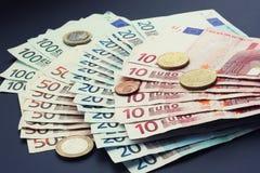 Stack of euros. Close Up Money Background with European euros Royalty Free Stock Photos