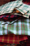 Stack of Fabric for Quilting. Squares of fabric are stacked and ready to be sewn into a quilt Royalty Free Stock Photo