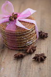 Stack of festive waffles in a pink bow Stock Photo