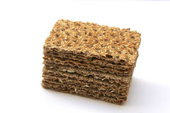 Stack of fibre crackers. Stack of fibre wholemeal crackers Royalty Free Stock Image